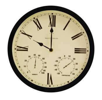 "Radio Controlled Multi function  35cm (13.7"") Outdoor Garden Clock with Thermometer  - by About Time™"