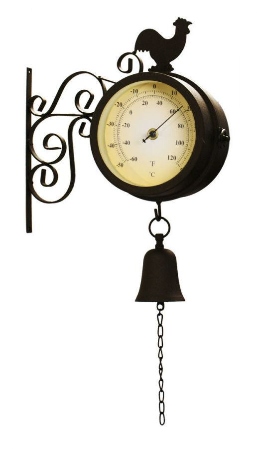 Cockerel and Bell - 47cm (18¾in) Garden Clock with Thermometer - by About Time™