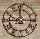 "Open Faced Antique Finish Metal Clock - 76cm (29.9"")  - by About Time™"