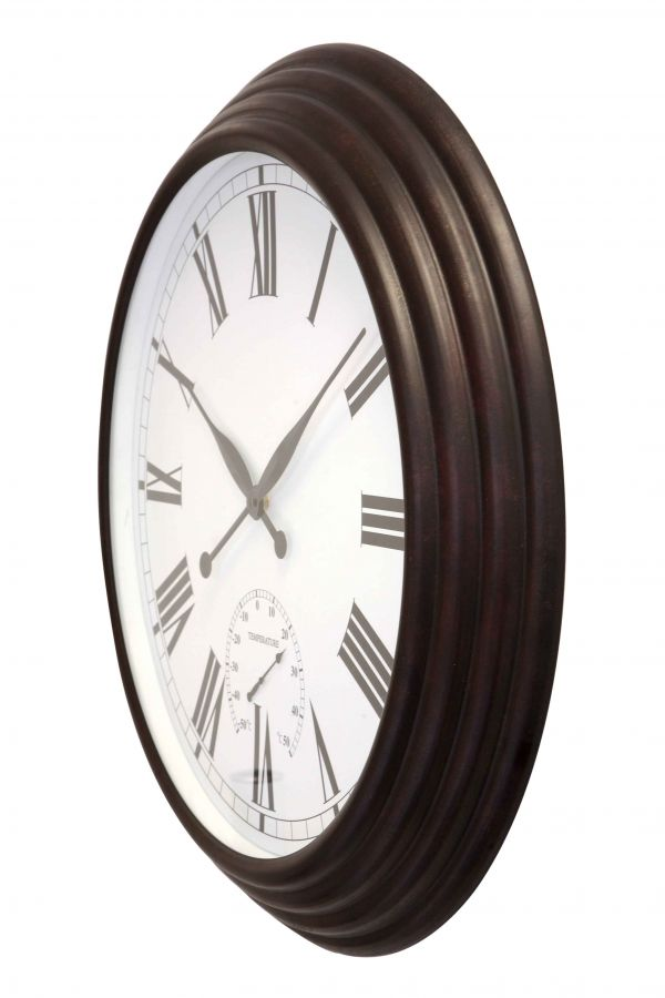 "Giant Garden Clock with Thermometer - Antique Brown - 69cm (27.2"")  - by About Time™"