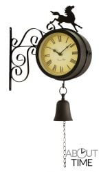 "Horse and Bell Garden Clock with Thermometer - 47cm (18.7"") - by About Time™"