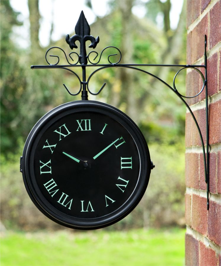 Glow In The Dark Double Sided Outdoor Clock