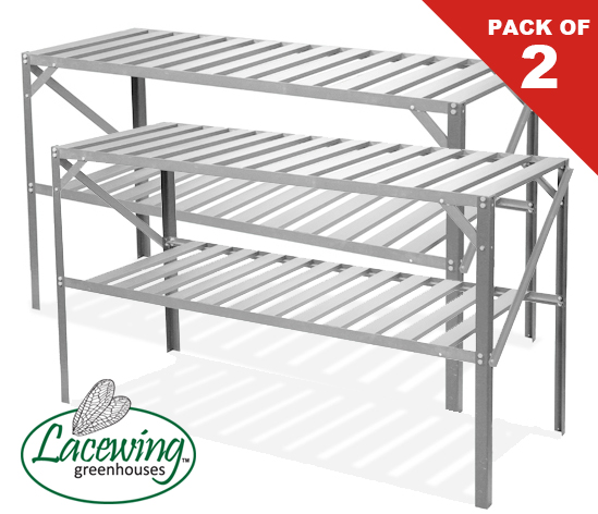 "Set of Two 4' 1"" Lacewing™ Traditional 2 Tier Greenhouse Staging - Silver"