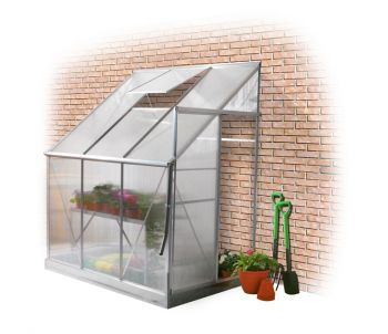 Lacewing™ 6ft x 4ft Deluxe Lean-To Silver Aluminium Frame Greenhouse