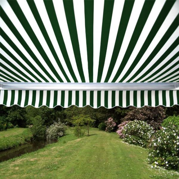 5.0m Full Cassette Electric Awning, Green and White Stripe Polyester