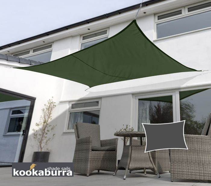 Kookaburra® 3mx2m Rectangle Green Breathable Party Shade Sail (Knitted 185gsm)
