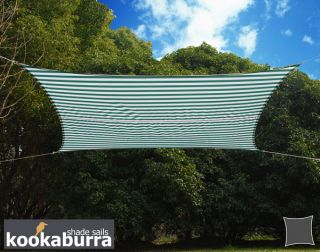 Kookaburra® 3mx2m Rectangle Green and White Stripe Waterproof Woven Shade Sail