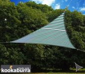 Kookaburra 3m Triangle Green and White Stripe Waterproof Woven Shade Sail