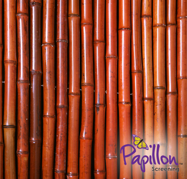 1.9m x 1.8m Thick Red Bamboo Screening Roll by Papillon™