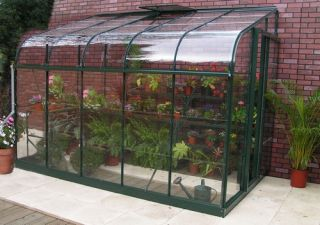 Halls Silverline Lean-To 8ft x 6ft Aluminium Frame Greenhouse with Toughened Glass - Green
