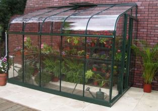 Halls Silverline Lean-To 12ft x 6ft Aluminium Frame Greenhouse - Green