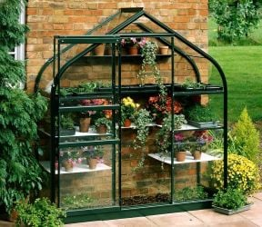 Halls Supreme Wall Garden Lean-To Green 6ft x 2ft Aluminium Frame Greenhouse