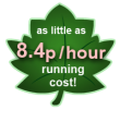 As little as 8.4p per hour running cost