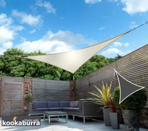 Kookaburra® 3m Triangle Ivory Breathable Party Shade Sail (Knitted 185gsm)