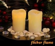 Flicker Flame� LED Mini Stub Melted Effect Wax Candles Set of 2