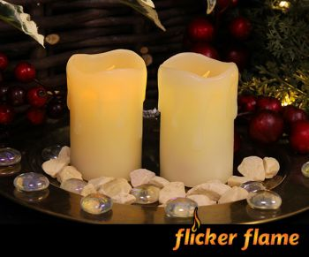 Flicker Flame™ Set of 2 LED Mini Stub Melted Effect Wax Candles