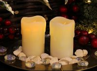 Flicker Flame� Set of 2 LED Mini Stub Melted Effect Wax Candles