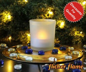 Flicker Flame™ LED Large Tealight With Frosted Glass Holder