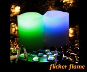 Flicker Flame� Set of 2 Colour Changing Real Wax LED Candles With Remote Control