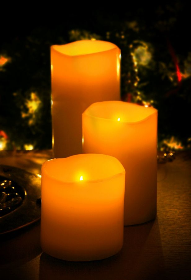 Flicker Flame Set Of 3 Led Real Wax Candles With Remote