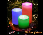Flicker Flame� Three LED Colour-Changing Pillar Candles With Remote Control