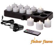 Flicker Flame� Twelve Rechargeable Warm White Tealights With Remote Control