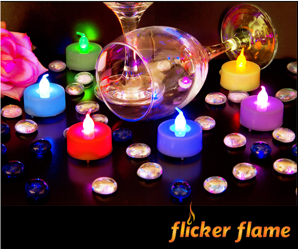 Flicker Flame™ Set of 6 Colour Changing LED Tealights