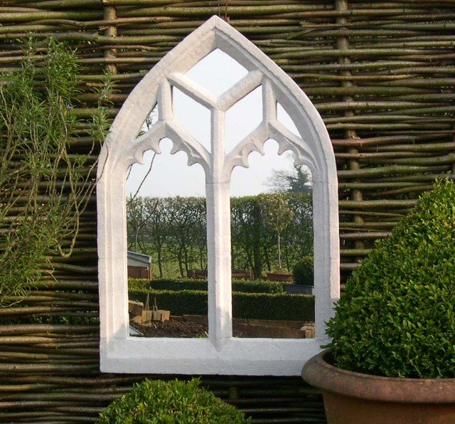 2ft 7in X 1ft 8in Ornate Gothic Outdoor Glass Mirror 163 129 99