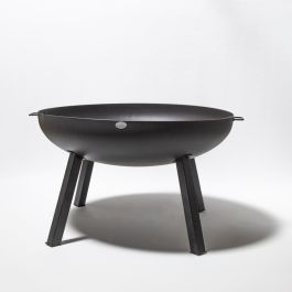 100cm Carbon Steel Fire Bowl With Long Legs in Black - by La Fiesta