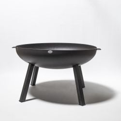 80cm Carbon Steel Fire Bowl With Long Legs in Black - by La Fiesta