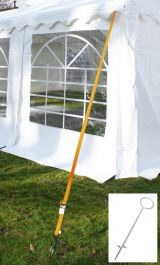 Tie down kit for tent of length 4m (two straps, two pegs)