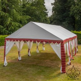 4x8m Luxury Indian-Style Waterproof Polycotton Red Marquee  - by Kerala™