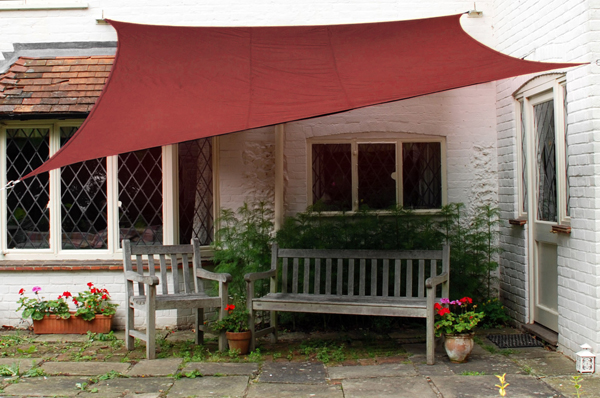 Kookaburra® 5mx4m Rectangle Marsala Red Waterproof Woven Shade Sail