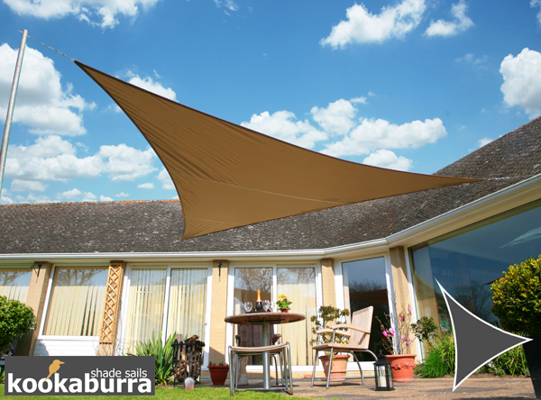Kookaburra® 2m Triangle Mocha Brown Waterproof Woven Shade Sail
