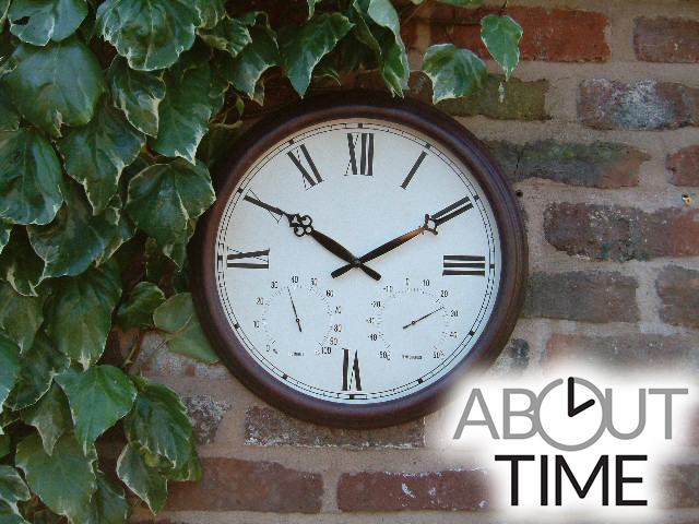 "Antique Rust  Outdoor Garden Clock with Thermometer - 38cm (15"") - by About Time™"