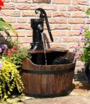 Newcastle Pump and Wooden Barrel Water Feature