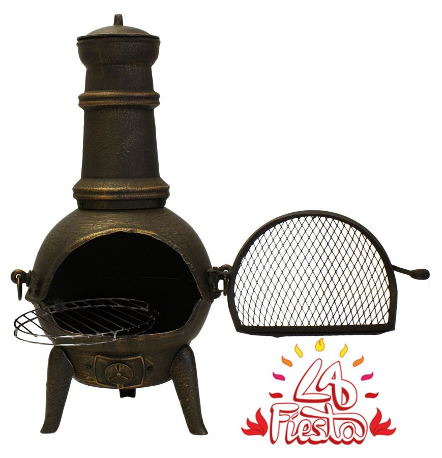 Santa Lucia Cast Iron Small Chimenea (Bronze) By La Fiesta  - H85cm x W47cm