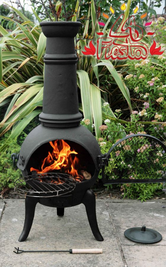 Santa Lucia Cast Iron Large Chiminea (Black) - H126cm x W52cm