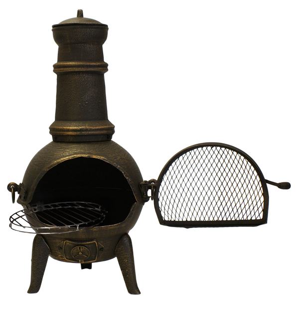 Santa Lucia Cast Iron Medium Chiminea (Black) By La Fiesta - H110cm x W50cm