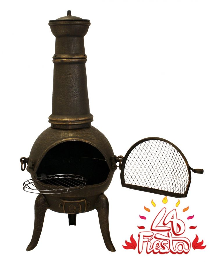 Santa Lucia Cast Iron Medium Chimenea (Bronze) By La Fiesta - H110cm x W50cm