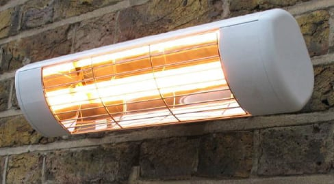 1.5kW Wall Mounted Quartz Halogen Bulb Electric Infrared Patio Heater - Weatherproof Outdoor IP55