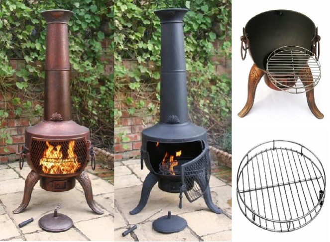 Tia Steel And Cast Iron Chimenea By Gardeco - H142cm x D46cm