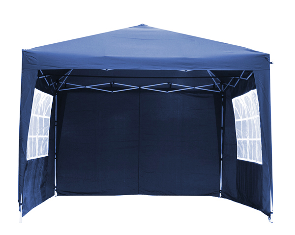 Portable Budget 3m x 3m Foldable Pop Up Gazebo Tent with Side Walls and Doors - Blue