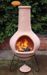 Tibor Natural Terracotta Glazed Clay Chimenea By Gardeco - H134cm x D59cm