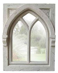 Gothic Stone Effect  Ornate Outdoor Mirror