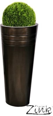 H49cm Tall Round Zinc Pewter Planter - By Primrose®