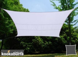 Kookaburra® 4mx3m Rectangle Polar White Party Sail Shade (Woven - Water Resistant)