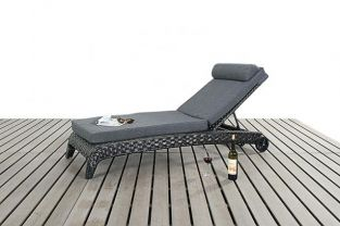 Rattan Lounger in Platinum Black H53cm x W62cm