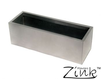L100cm Zinc Galvanised Silver Trough Planter - By Zink�