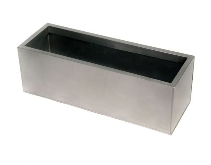 L70cm Zinc Galvanised Silver Trough Planter - By Primrose®